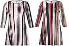 Womens Plus Size Half Sleeve Ladies Stretch Flared Swing Long Stripe Dress Top