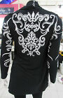 Sweater Large Cardigan Black White Tattoo Embroidery Long Open Drape Front NWT