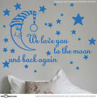 COLOR - We Love You To The Moon Nursery / Kids Room Wall Vinyl Decal Sticker  S2