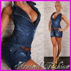 NEW halter neck JUMPSUITS for women BLUE DENIM SHORTS SHORT overall PANTS outfit