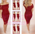 Red Lace Flower Bodycon Midi Dress Size 8 10 12 Evening Party Bardot Diva look