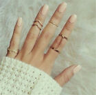 5 PCS/Set  Alluring Lovely Gold/Silver Crystal Knuckle Ring Band Midi Ring Set