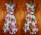 NEW IVORY WHITE VINTAGE 50s STYLE FLORAL SUMMER COTTON SUN DRESS UK SIZE 10 - 20