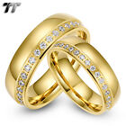 Luxury TT 14K Gold GP S.Steel Wedding Band Ring For Couple A Set Ring NEW