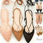 Women's Pointed Toe Lace Up Flats Perforated Slip On Faux Suede Design New