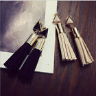 New Vintage Velvet Long Drop  Earrings Rhinestone Triangle Tassel  For Women