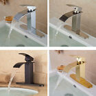 Single Lever Waterfall Spout Bath Basin Sink Faucet Mixer Valve Tap Deck Mounted