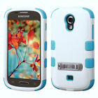 White/Teal Hybrid Phone Protector Durable Shock Absorbent Case Hard Cover Stand
