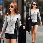 Womens Blouse Long Sleeve Cotton Tops Shirt Casual T Shirt Tee Stretch Tops NEW