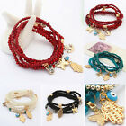 Vintage Women Beads Boho Hamsa Hand Cuff Bangle Wristband Bracelet Jewelry Gift