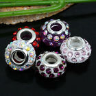 5x Women Rhinestone Resin Big Hole European Beads Fit Jewelry Charm Bracelet DIY