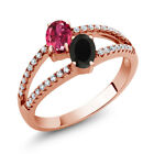 1.30 Ct Pink Tourmaline Black Onyx Two Stone 18K Rose Gold Plated Silver Ring
