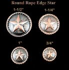 LOT OF 6 CONCHOS ROUND ROPE EDGE STAR WESTERN COPPER ENGRAVED 4 SIZES