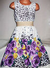 GIRLS PURPLE FLORAL ANIMAL PRINT GOLD TRIM CALF LENGTH MIDI CHIFFON PARTY DRESS
