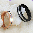 BLACK/ROSE GOLD GP CZ SURGICAL STAINLESS STEEL RING F SIZE 5-8 M SIZE 7-10