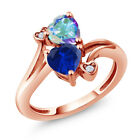1.78 Ct Simulated Sapphire and Mystic Topaz 18K Rose Gold Plated Silver Ring