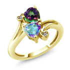 1.93 Ct Mercury Mist and Green Mystic Topaz 18K Yellow Gold Plated Silver Ring