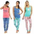 Ladies Cotton Summer Pyjamas Print Vest Top & Long Bottoms PJs Nightwear Set