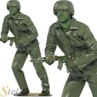 Mens Green Toy Soldier Costume Army 90s Story Military Fancy Dress Adult Outfit