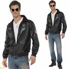 Mens Official Top Gun Bomber Jacket 80s Film Army Military Fancy Dress Costume