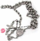 """26"""" 27""""  316L Stainless Steel 6mm Rosary Silver Tone Bead Necklace With Crucifix"""