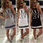 Sports Women Letter LOVE Printed Long T-shirt One-piece Casual Dress Zipper