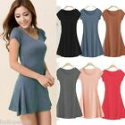Ladies Pure Cotton Casual Soft Long T-SHIRT Short Mini Dress Sheathy