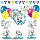 Stylish Confetti style girls birthday party tableware plates cups napkins