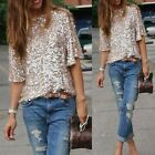 Women Sequined Bling Shiny Tank Casual Loose T-Shirt Off Shoulder Blouse Tops