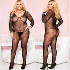 Black Long Sleeve Lace Bodystocking Lingerie Plus Size Queen ML1085