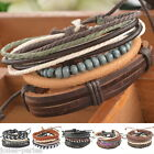 JP 1Set Braided Adjustable Leather Bracelet Punk Jewelry Cuff Women/Men`s Gift