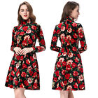 New Women Vintage Swing Long Sleeve Turtleneck Formal Evening Zipper Dress