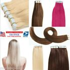 "16""18""20""22"" Seamless Tape In Skin Weft Real Remy Human Hair Extensions 20pcs US"