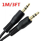 1M Black 3.5mm Male to Male Car Aux Auxiliary Cord Stereo Audio Cable Universal