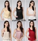 Womens Tank Top Singlet Vest T Shirt Tees 19 Momme 100% Pure Silk