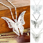 Fashion Women Butterfly Pendant Necklace Silver Plated Gift Alloy New M11910