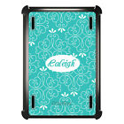 Monogrammed OtterBox Defender for Apple iPad Mini / Air Teal White Floral Name