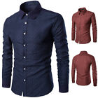 Mens Luxury Casual Dress Slim Fit T-Shirts Casual Long Sleeve Business Fashion