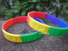 Rainbow Colour Gay PRIDE Skinny Debossed Silicone Wristband Bracelet