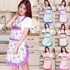 Women Housewife Kitchen Bib Aprons With Pocket Floral Cook Restaurant Dress Gift