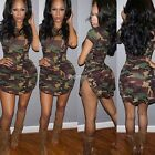 Women's Sexy Bandage Bodycon Evenng Party Cocktail Camouflage Short Mini Dress