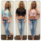 New Sexy Crochet Lace Summer Festival Scallop Sheer Crop Cropped Top Tee Blouse