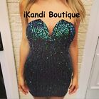 New Ladies Sexy V neck Plunge Bustier Green Sequin Party Mini Bodycon Dress