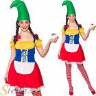 Ladies Cute Garden Gnome Costume Fairy Tale Elf Fancy Dress Womens Outfit
