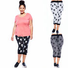 Women Ladies Plus Terry Skull  Prnt  Capri Joggers