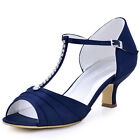 EL-035 Middle Heel Party Sandals T-Strap Rhinestones Ruched Satin Wedding Shoes
