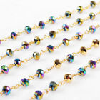 16Ft 5~6mm Titanium Rainbow Quartz Rosary Beaded Chain Wire Wrapped DIY BJT085