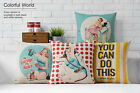 Retro Nostalgia Poster Girls Pillow Case Home Decor Cushion Cover Square Linen