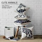 Simple Silhouette Cat Flowers Pillow Case Home Decor Cushion Cover Square Linen