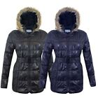 NEW WOMEN LADIES FUR HOOD PUFFER QUILTED PADDED WETLOOK PARKA JACKET BELTED COAT